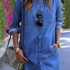 Denim blouse jurk