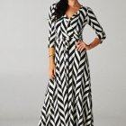 Zwart wit maxi dress